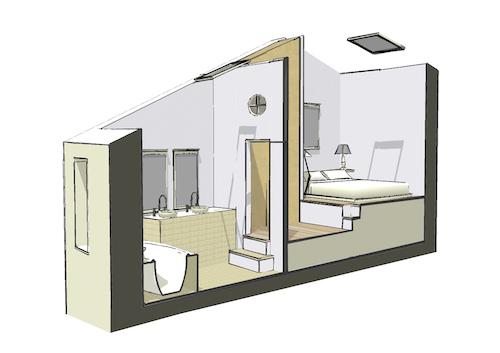 Coupe salle de bains et chambre